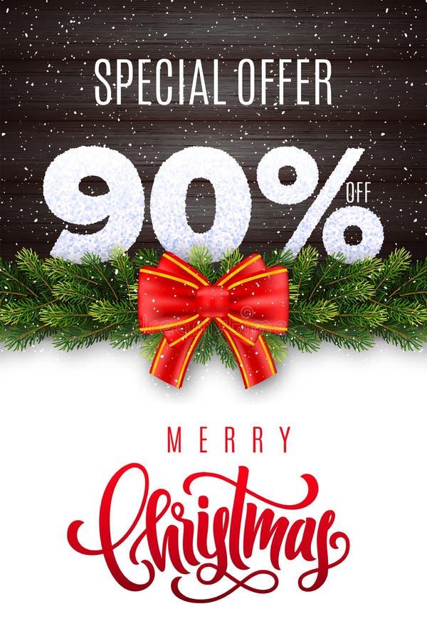Помечать буквами с Рождеством Христовым Продажа праздника 90 процентов  Номера снега на деревянной предпосылке с гирляндой ели и  иллюстрация штока