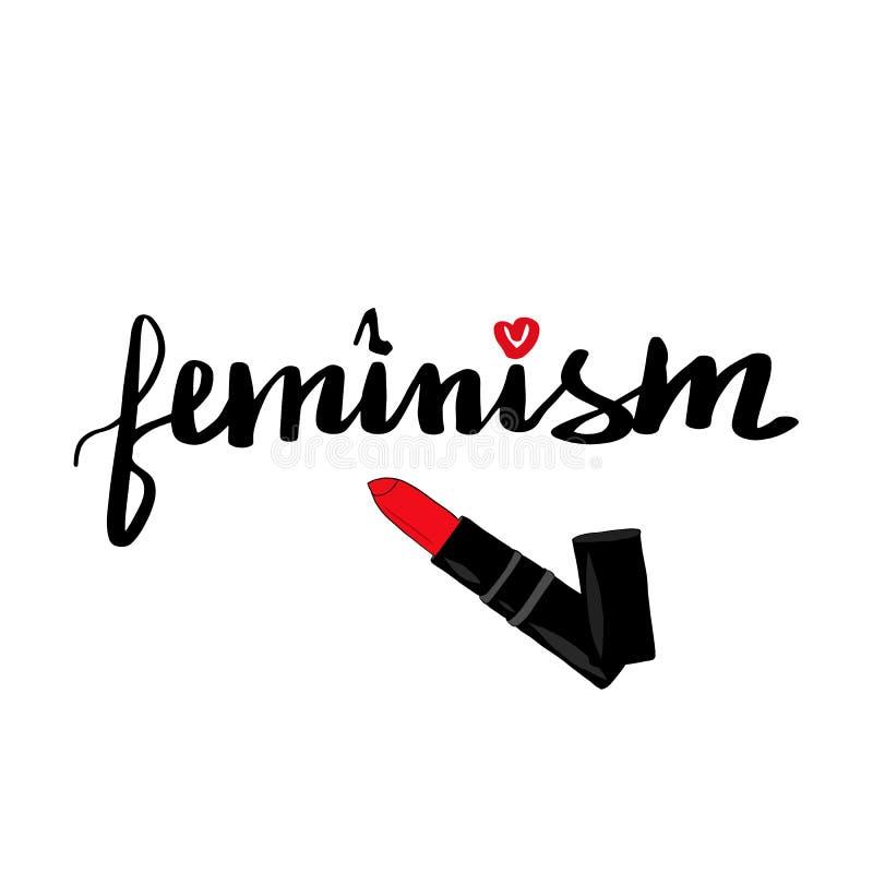 Помечать буквами феминизм надписи Феминист лозунг иллюстрация штока