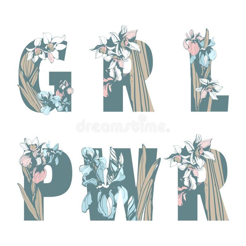 Помечать буквами цветки весны цветочного узора феминист руки силы женщины девушки печати GRL PWR футболки сестричества вычерченны иллюстрация штока
