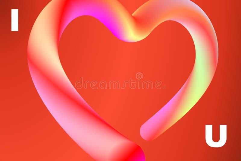 Помечающ буквами I полюбите u в современной минимальной multicolor живой жидкости f иллюстрация вектора