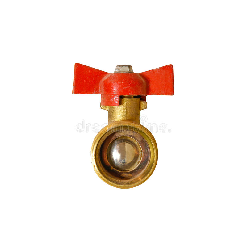помещенный прибор шарика паяющ белизну клапана Клапан для впуска горючей смеси с красной ручкой Изолированный на белом backg стоковое фото