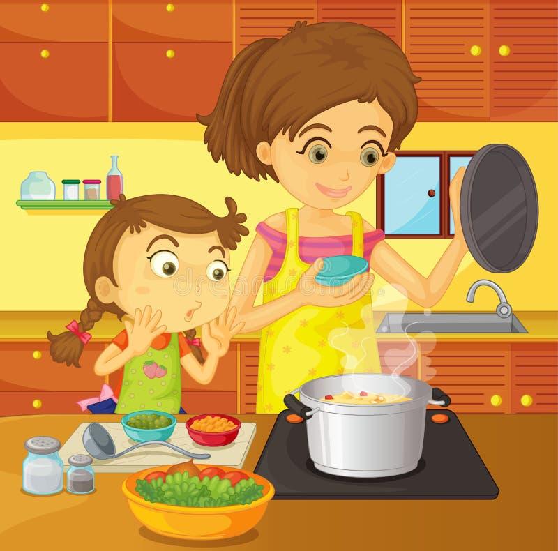 помогая домашняя мама иллюстрация вектора
