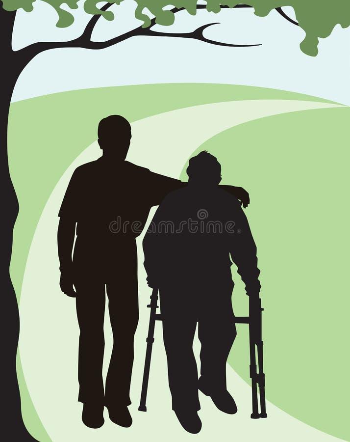 Помогая пожилые люди иллюстрация штока