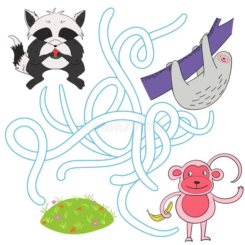 Помогите встретить друзей в игре ребенка луга иллюстрация штока