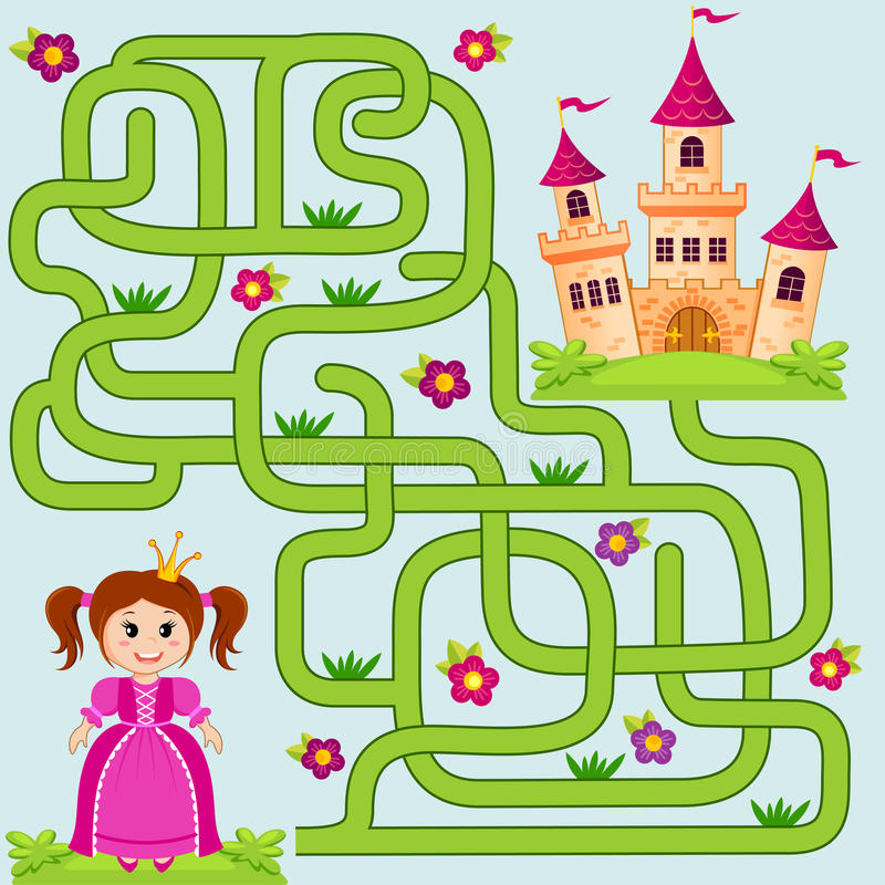 Помогите маленькому милому пути находки принцессы для того чтобы рокировать лабиринт Игра лабиринта для малышей иллюстрация вектора