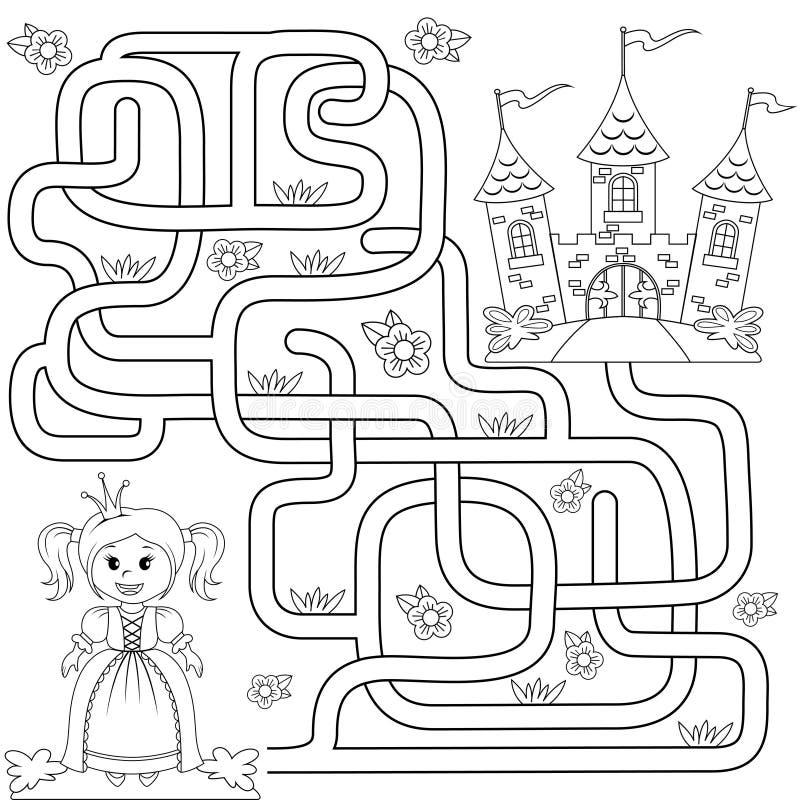 Помогите маленькому милому пути находки принцессы для того чтобы рокировать лабиринт Игра лабиринта для малышей иллюстрация штока