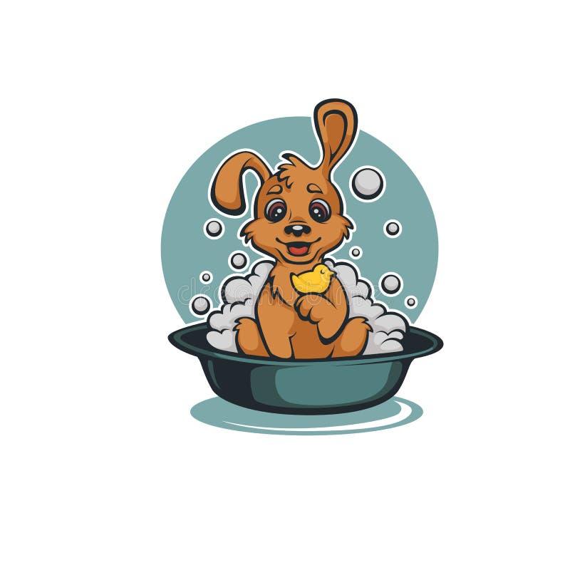 Помойте ваш любимчика, смешную собаку младенца шаржа принимая ванну бесплатная иллюстрация