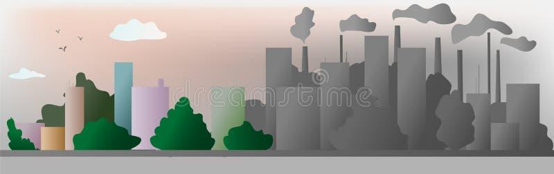 Помощь города экологичности серого цвета и цвета мир с дружественными к эко идеями концепции, иллюстрация вектора иллюстрация штока