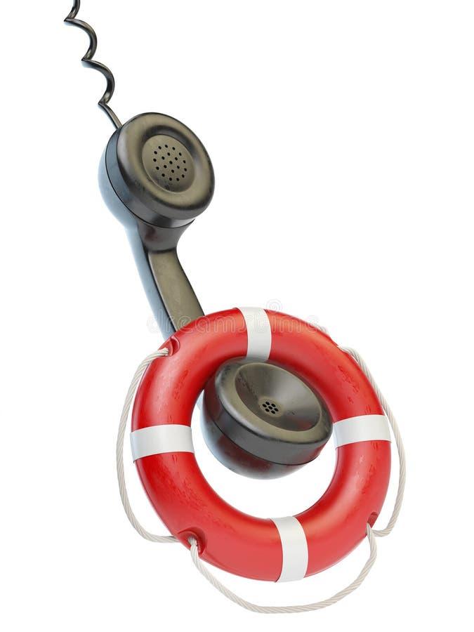 Помощь или концепция вспомогательного обслуживания Приемник телефона и lifebouy бесплатная иллюстрация