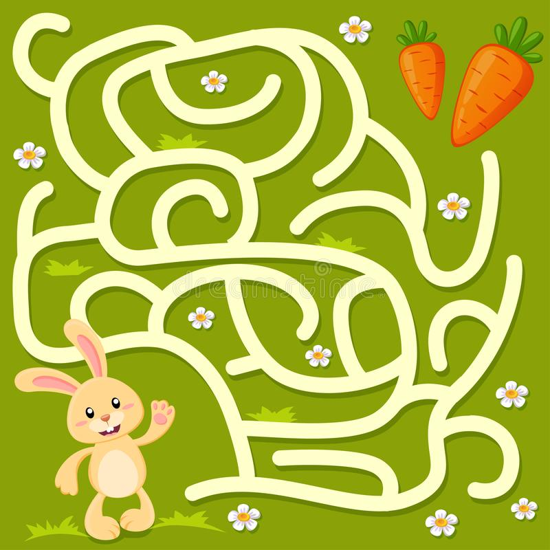 Помощь меньший путь находки зайчика к моркови лабиринт Игра лабиринта для малышей иллюстрация штока