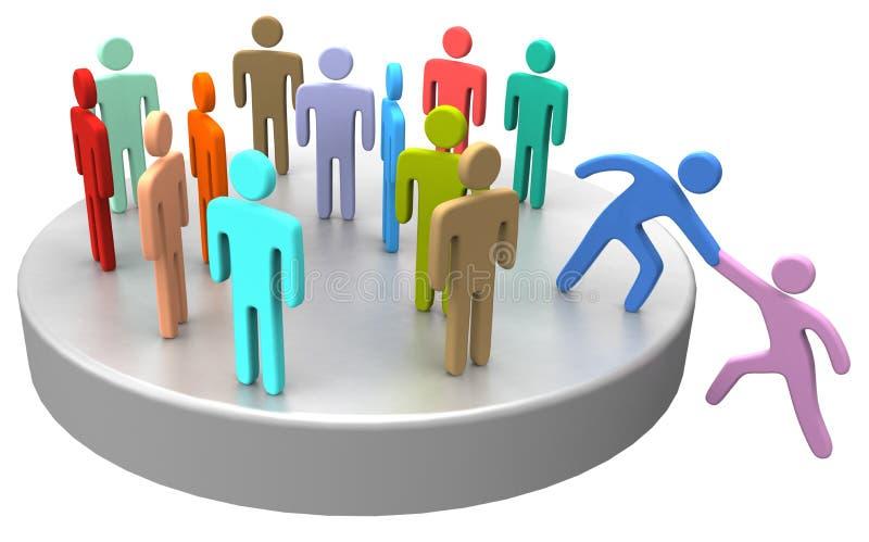 Помощь соединяет вверх по социальным бизнесменам иллюстрация штока