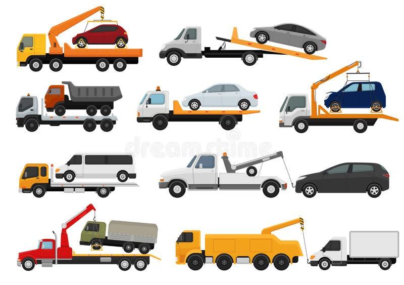 Помощь towage транспорта корабля автомобиля отбуксировки вектора эвакуатора перевозя на грузовиках на наборе иллюстрации дороги о иллюстрация штока