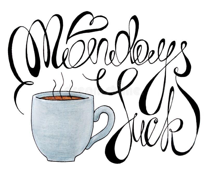 Понедельники сосут иллюстрацию оформления нарисованный рукой крася плакат каллиграфии карандашей с чашкой горячего кофе и понедел иллюстрация штока