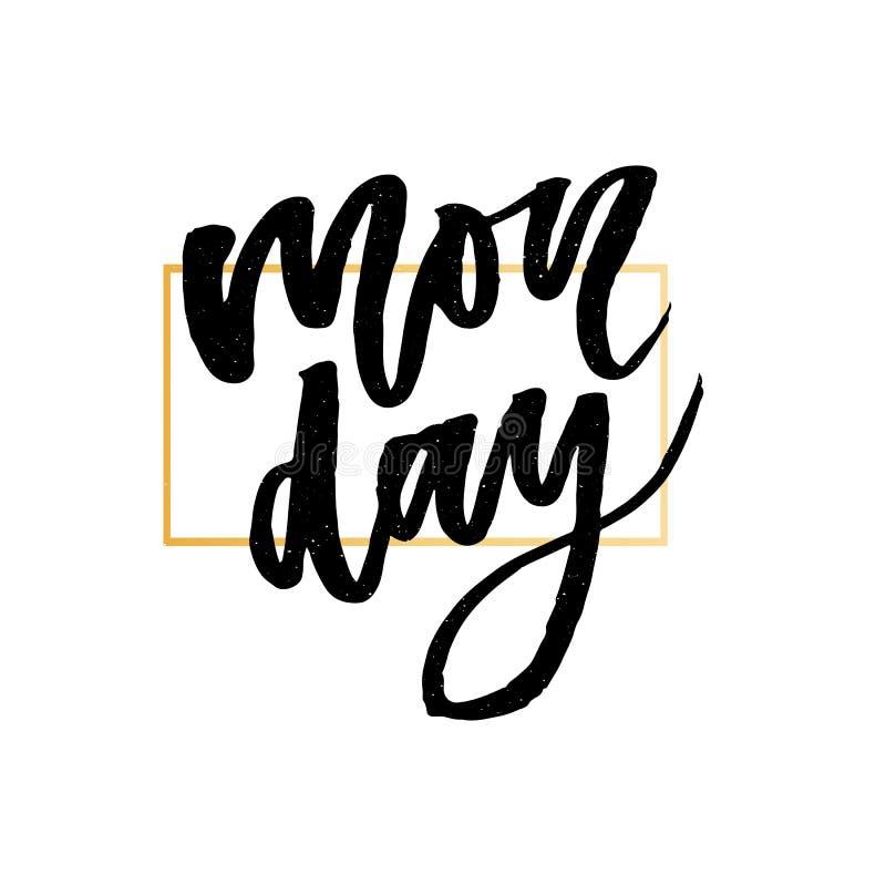 Понедельник - нарисованная рука вектора помечающ буквами фразу Современная каллиграфия щетки для блогов и социальных средств масс бесплатная иллюстрация