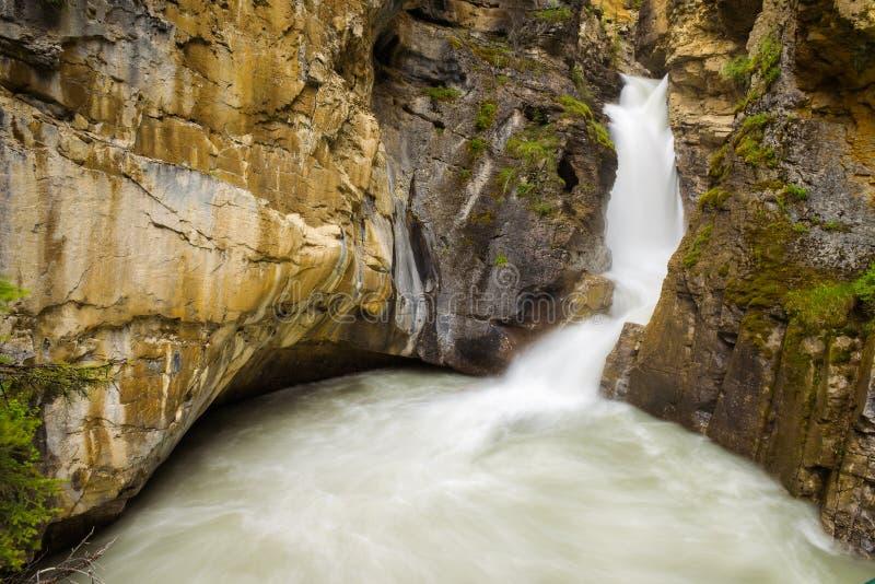Понизьте падения в каньон Johnston, национальный парк Banff, Канаду стоковое фото