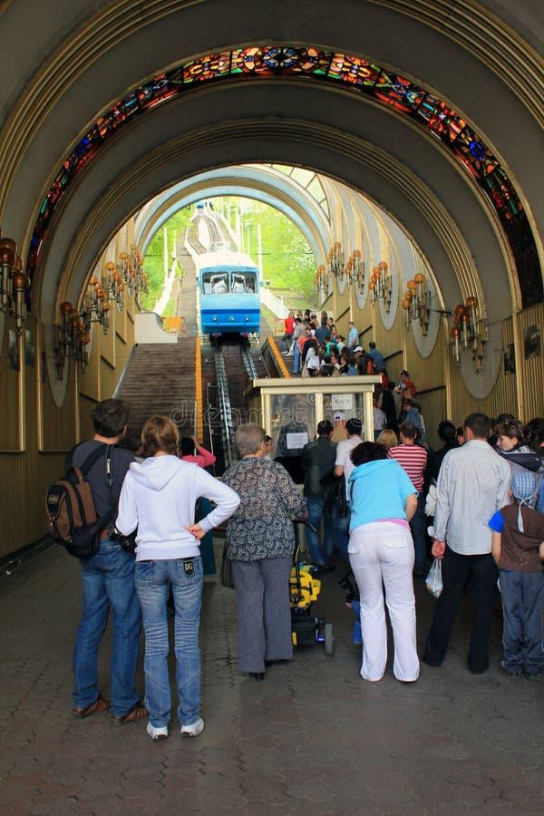 Понизьте станцию фуникулера Киева стоковые фото