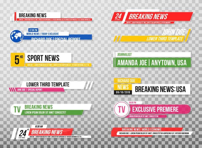 Понизьте третий шаблон Комплект знамен и баров ТВ для каналов новостей и спорта, течь и передавая Собрание более низкого thir иллюстрация вектора
