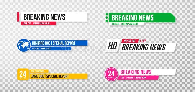 Понизьте третий шаблон Установите знамен и баров ТВ для каналов новостей и спорта, течь и передавая бесплатная иллюстрация