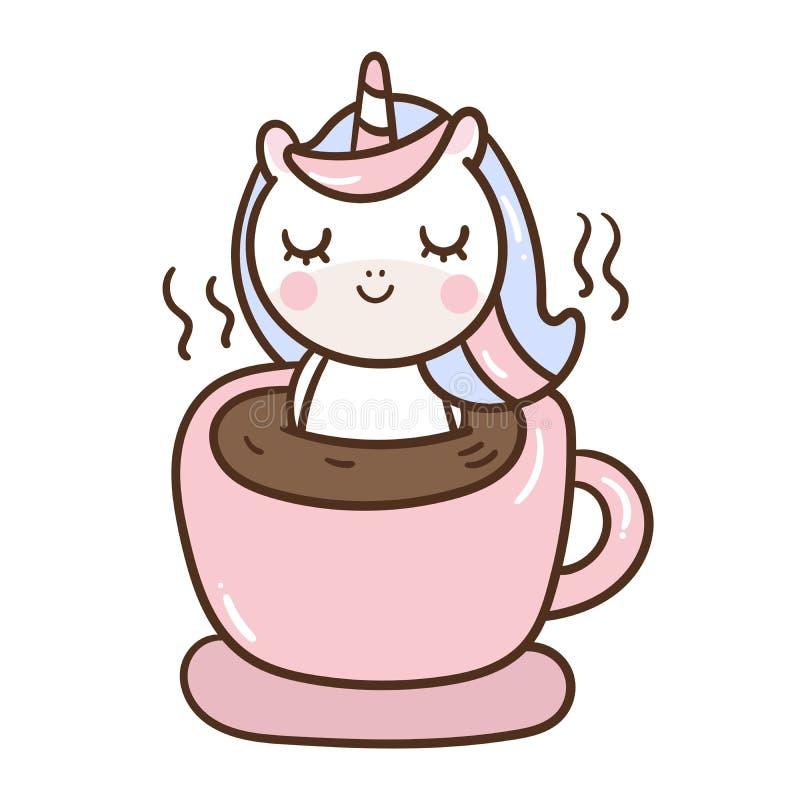 Пони милого мультфильма единорога маленький в кофейной чашке для пастельного цвета плаката питомника иллюстрация вектора