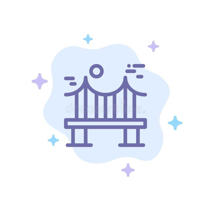 Поперек, мост, металл, река, значок дороги голубой на абстрактной предпосылке облака иллюстрация штока