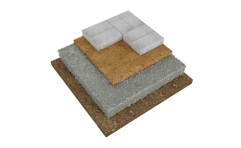 Поперечное сечение замка вымощая, земля, бетон, песок белизна изолированная предпосылкой иллюстрация вектора
