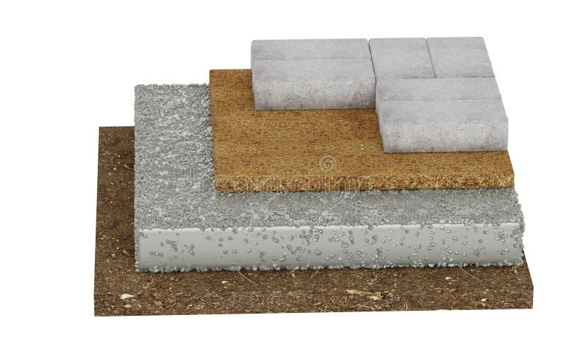 Поперечное сечение замка вымощая, земля, бетон, песок белизна изолированная предпосылкой бесплатная иллюстрация