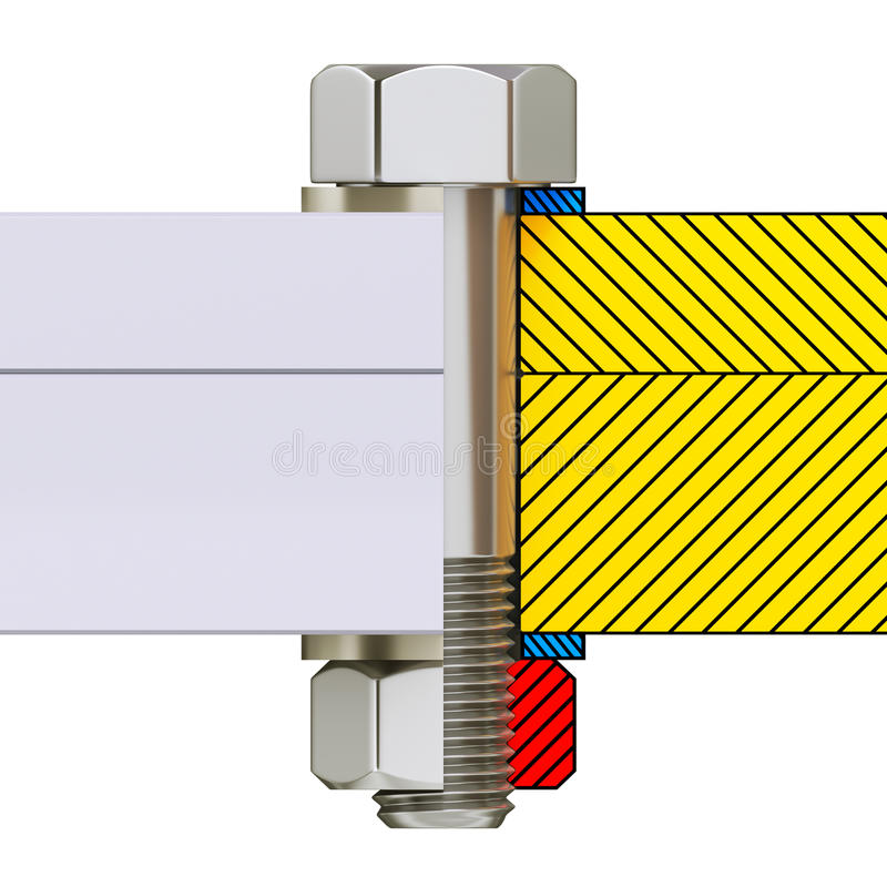 Поперечное сечение соединения винта с болтом, гайкой и шайбой иллюстрация штока