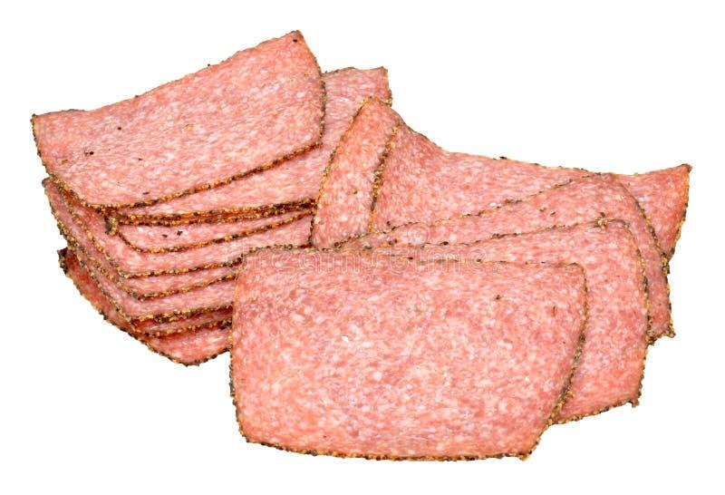 Поперченные куски мяса салями стоковые изображения rf