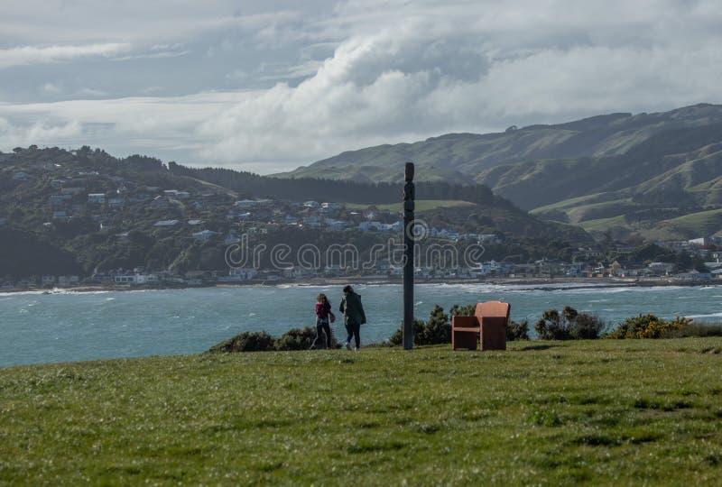 Попечитель на headland на парке Whitereia, Porirua, Новой Зеландии стоковые изображения rf