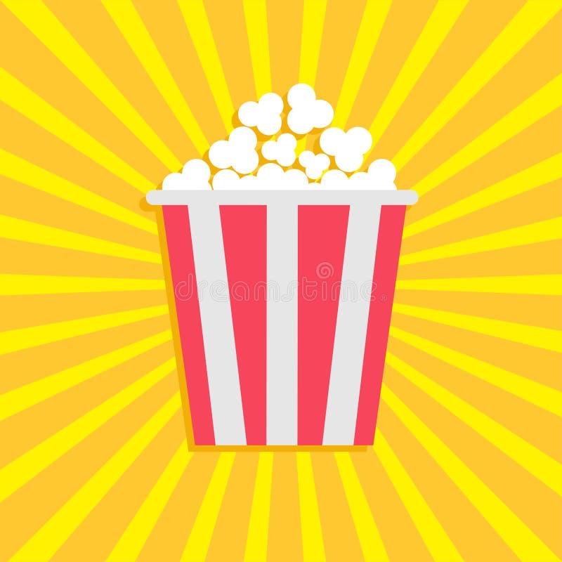 Попкорн Значок кино кино в плоском стиле дизайна Предпосылка Starburst иллюстрация вектора
