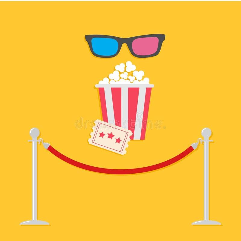 Попкорн и билет стекел турникета 3D опор барьера красной веревочки большие Значок кино в плоском стиле дизайна иллюстрация штока