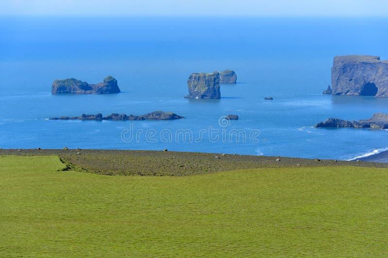 поплавайте вдоль побережья взгляд Исландии dyrholaey южный стоковое изображение