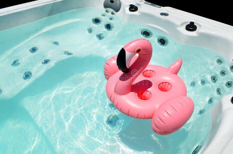 Поплавайте курорт показывая двигатели бассейна с раздувным фламинго стоковые фотографии rf