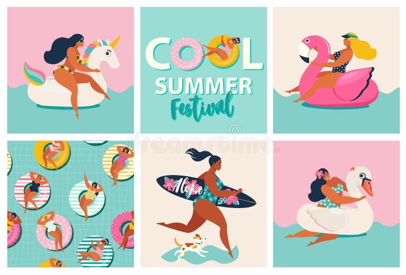 Поплавки бассейна фламинго, единорога и лебедя раздувные Мультфильм установил лета с девушками, поплавками бассейна, собакой, иллюстрация вектора