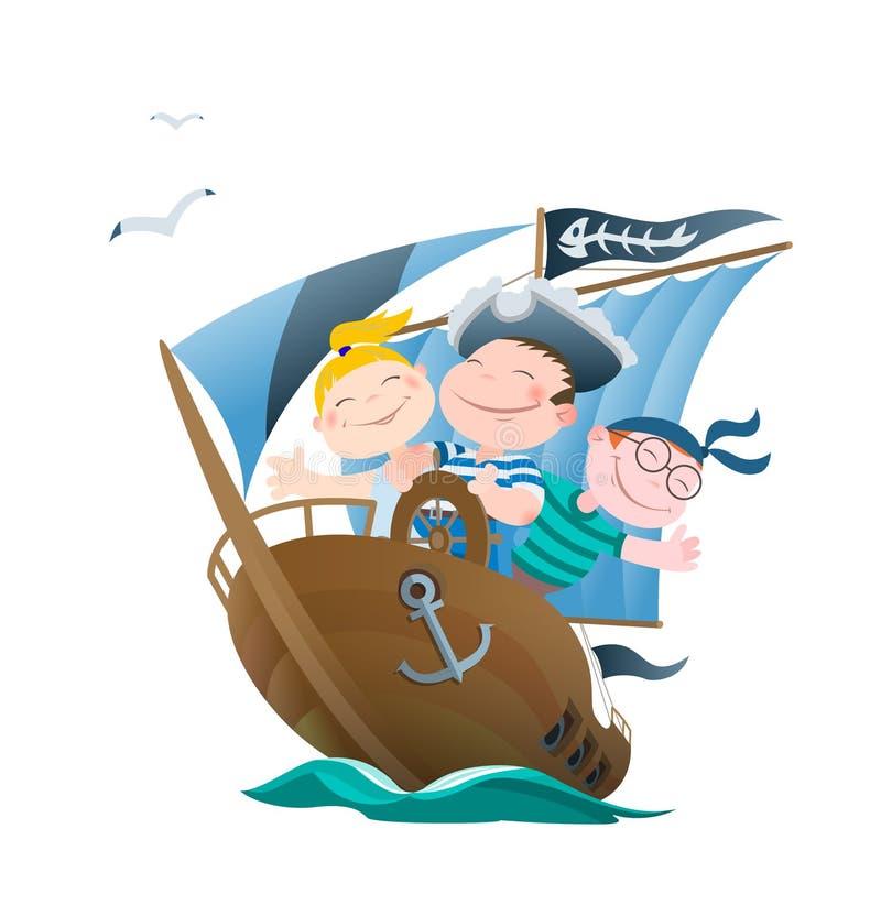 Поплавок детей кораблем пиратов иллюстрация вектора