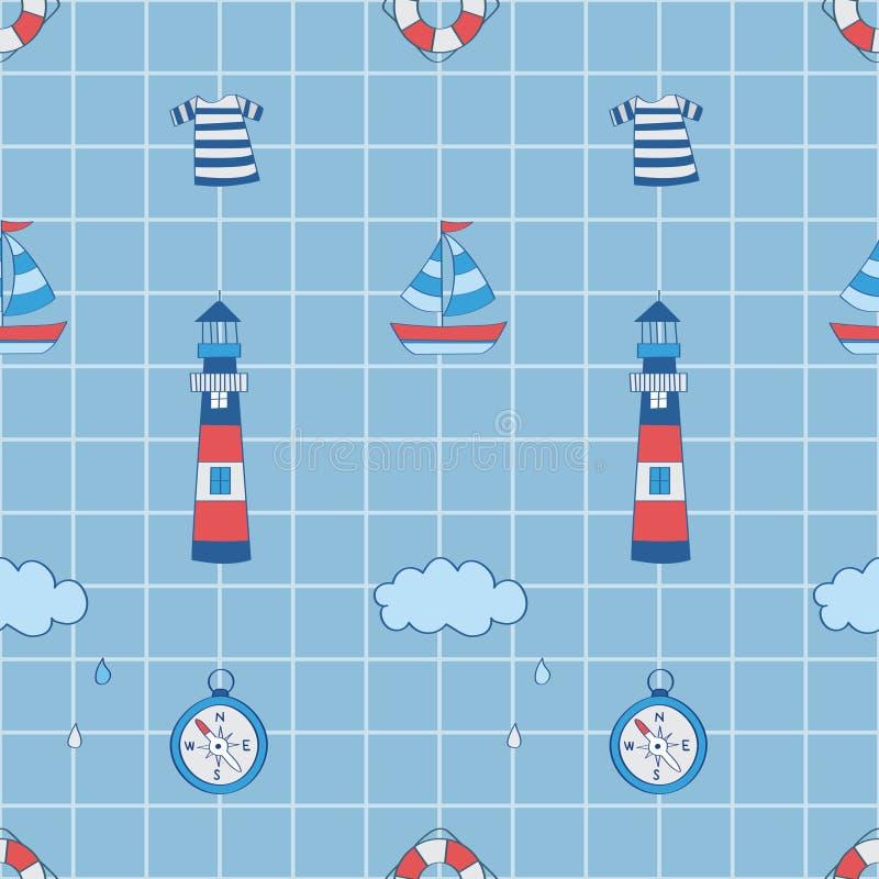 Поплавок, маяк, шлюпка, компас в квадратной предпосылке иллюстрация штока