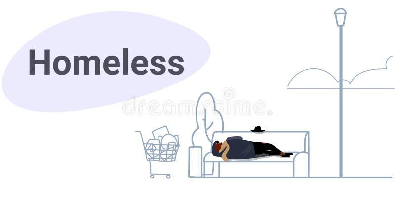Попрошайка бедного человека спать на открытом воздухе пьяный лежа на  иллюстрация вектора