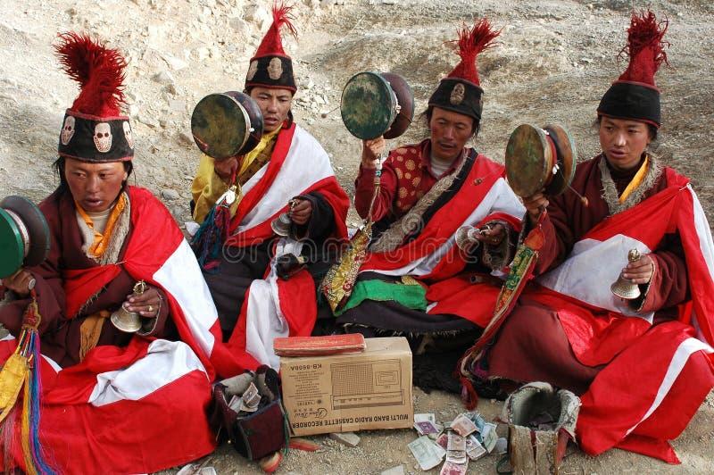 попрошайки тибетские стоковое фото rf