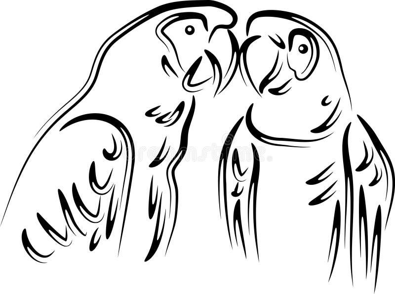 Попугаи влюбленности иллюстрация вектора