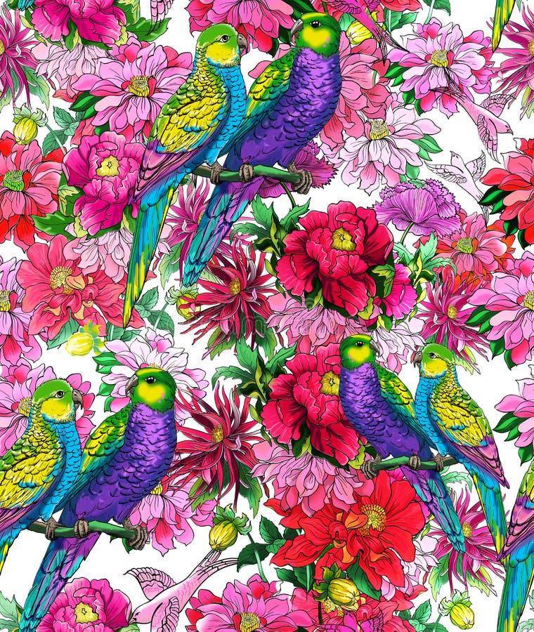 Попугай и красивые цветки стоковые фото