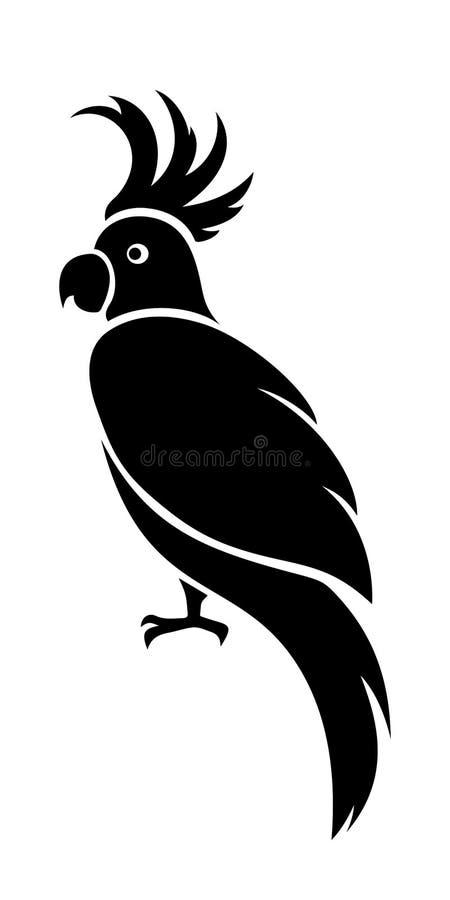 Попугай какаду Силуэт вектора черный бесплатная иллюстрация