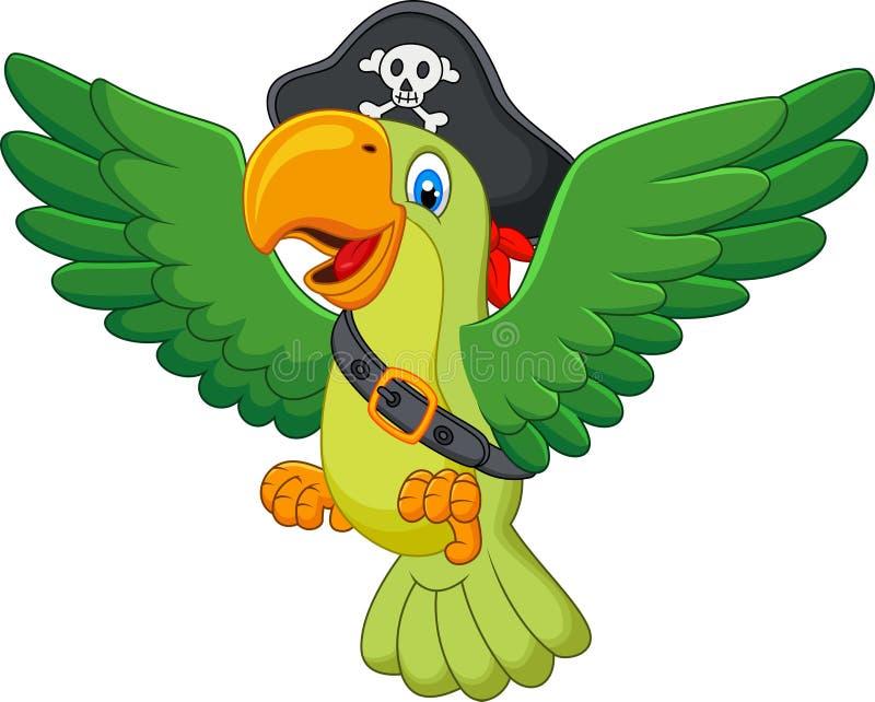 Попугай пирата шаржа иллюстрация штока