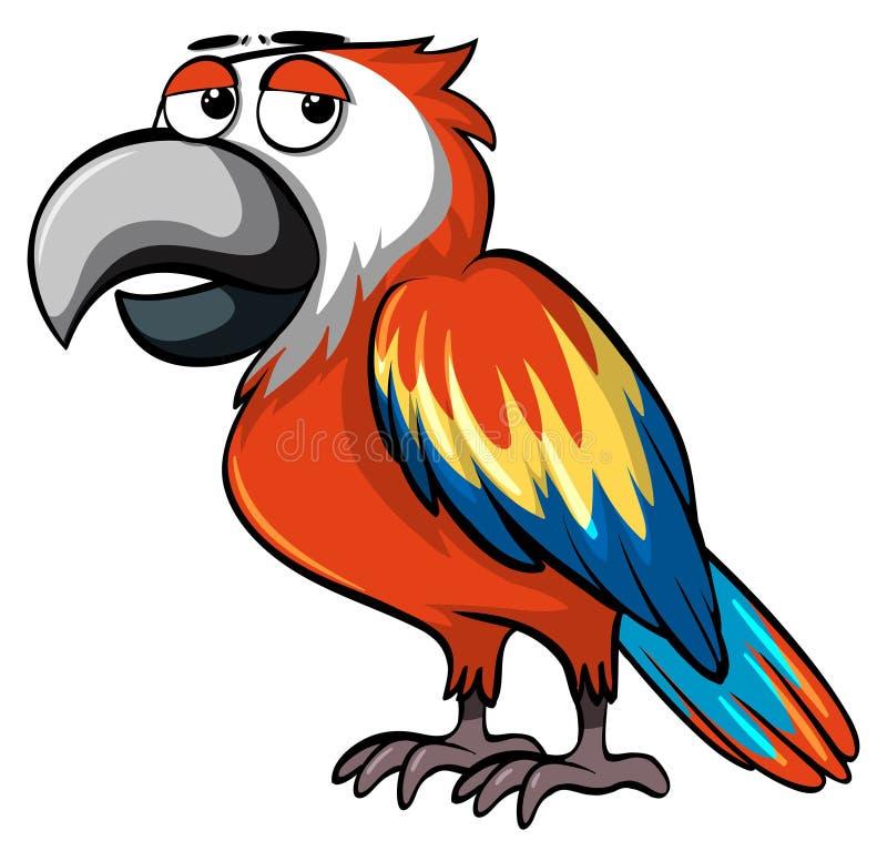 Попугай с сонными глазами иллюстрация вектора
