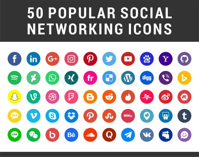 50 популярных социальных значков средств массовой информации иллюстрация вектора