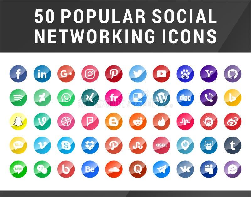 50 популярных социальных значков средств массовой информации иллюстрация штока