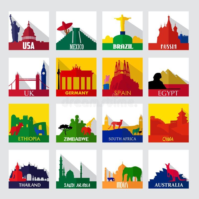 Популярный sightseeing пятнает в мире значки иллюстрация вектора