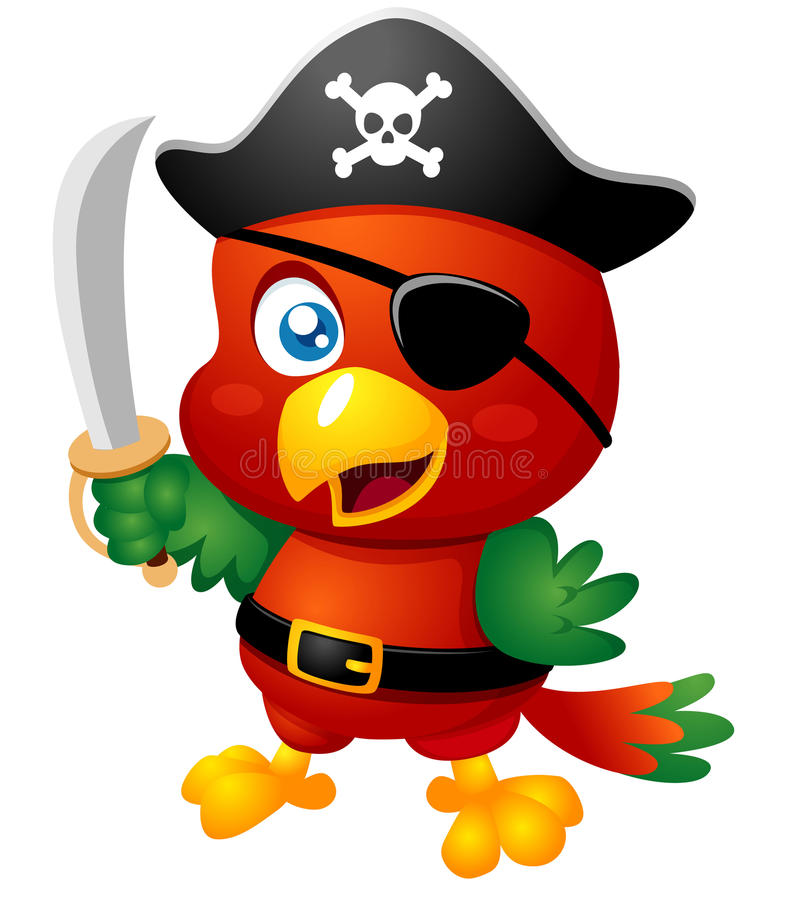 Попыгай пирата шаржа иллюстрация штока