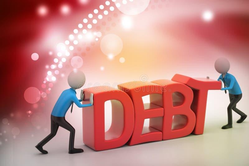 попытка людей 3d для избежания задолженности иллюстрация вектора
