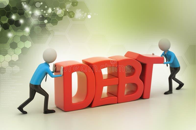 попытка людей 3d для избежания задолженности иллюстрация штока