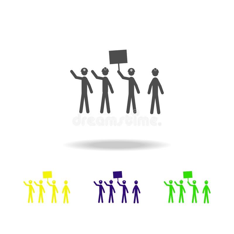 поражая значки горнорабочих пестротканые Элементы значка протеста и ралли Знаки и значок для вебсайтов, desig собрания символа се иллюстрация вектора